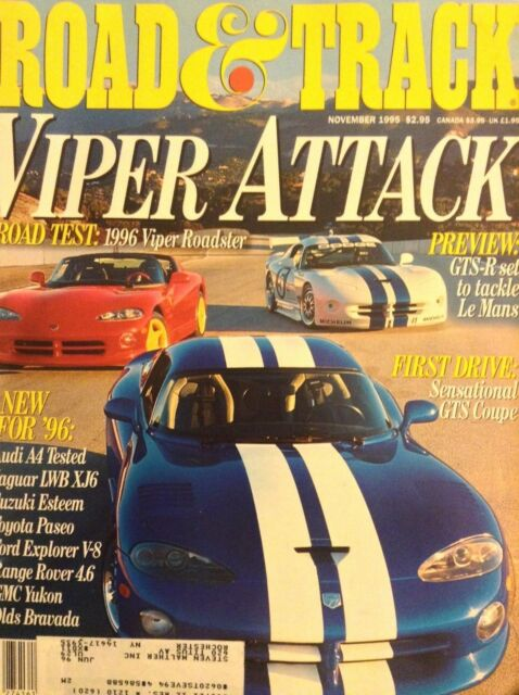 Road & Track Magazine '96 Viper Roadster & GTS-R November 1995 052418nonrh