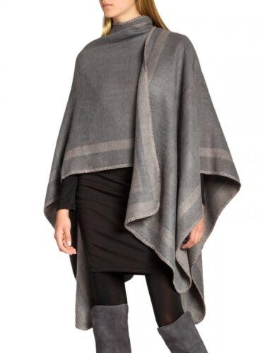CASPAR PON013 Ladies Knitted Winter Autumn Poncho Bi-Coloured Wrap Cape Coat