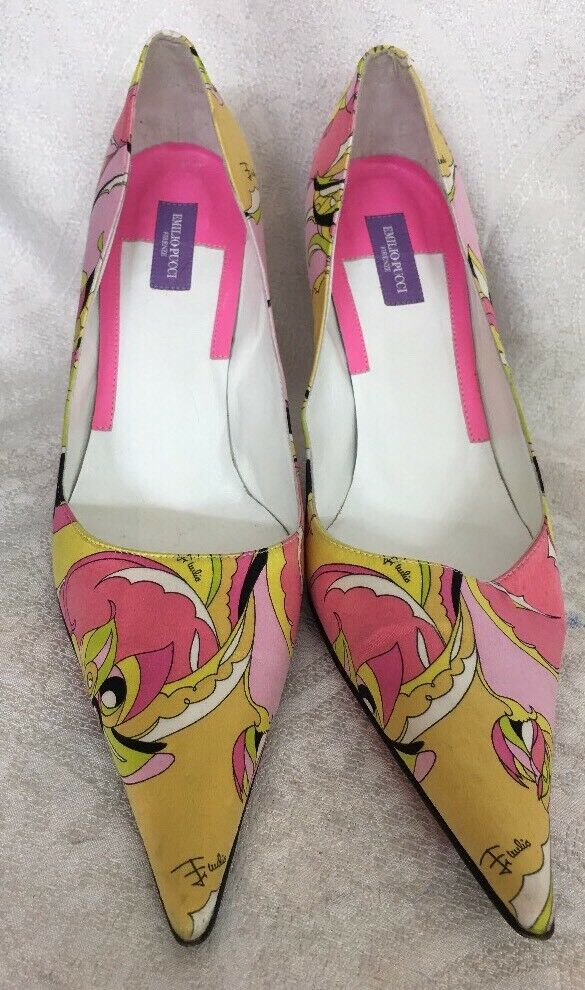 Emilio Pucci chaussures Multi Couleuruge Silk Print Print Print Pump Taille 39 1 2 ad7dd9