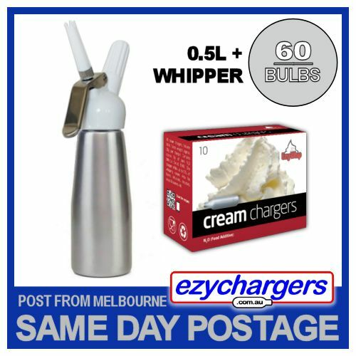 EZYWHIP CREAM WHIPPER 0.5L SILVER & 60 N2O CHARGER DISPENSER NITROUS BULBS