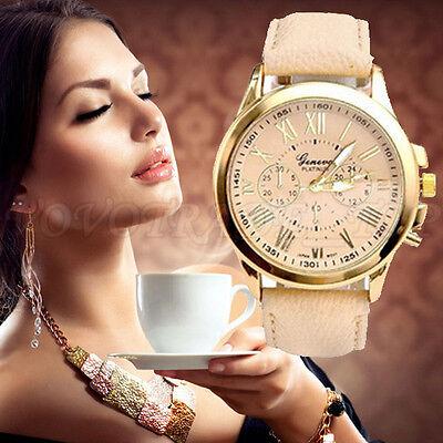 Fashion Geneva Women's Watch Lady Faux Leather Analog Quartz Wrist Watches Beige