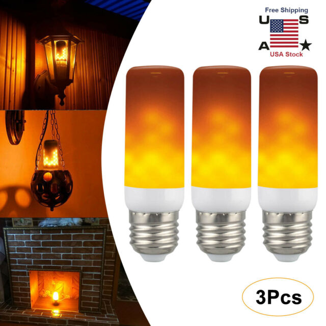3 Pack E27 LED Flicker Flame Fire Effect Simulated Nature Light Bulb Decor Lamp