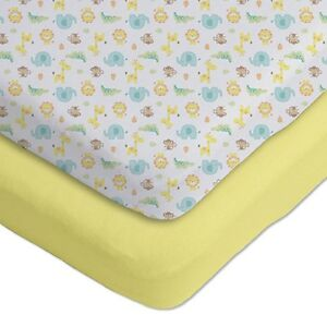 Gerber 174 2 pack 173 cotton knit fitted crib sheets yellow white safari