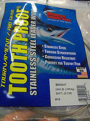 AFW TOOTH PROOF STAINLESS STEEL LEADER-Single Strand Wire-38LB Test 30FT BRIGHT