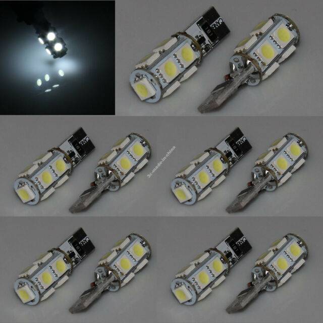 10x Canbus Car Bulb Wedge T10 9 SMD 5050 LED Side Light White Lamp 194 168 W5W