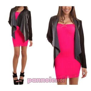 Giacca-donna-ecopelle-senza-chiusura-maniche-velate-giacchetto-nuovo-CJ-2095