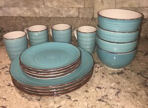 Royal-Norfolk-TURQUOISE-SWIRL-BROWN-TRIM-Plates-Bowls-Mugs-16-Pieces-NWT