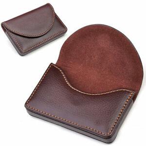 Brown-Kreditkarten-Visitenkarten-Visitenkartenetui-Schutz-Karten-Leder-Cover