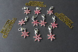 10-CHRISTMAS-PINK-RHINESTONE-SNOWFLAKE-HEART-LOBSTER-CLASP-CHARM