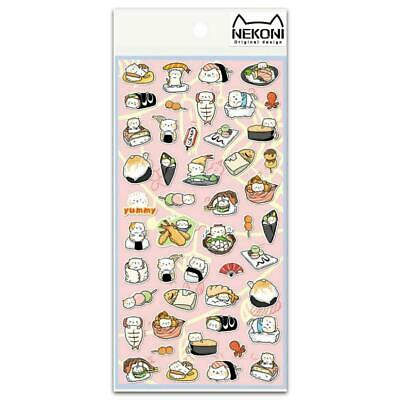 CUTE SUSHI STICKERS Food Sticker Sheet Kawaii Kids Craft Scrapbook Journal NEW