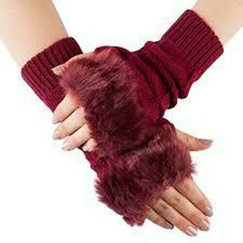 Ladies Vivente Vivo Gloves Burgundy Fake Fur Trim Size Small B64