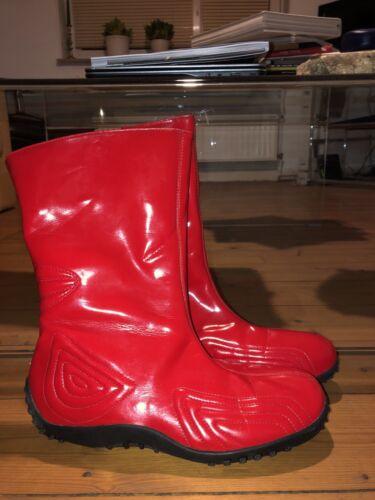Romika Stivali di Gomma Vernice Rosso Vintage 90er GR. 40 RARO OTTIMO STATO MAI INDOSSATO