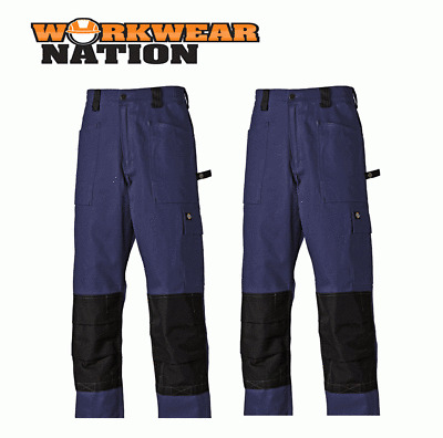 Dickies Grafter Duo Tone Trousers Cordura Knee  Pants Black FREE KNEE/&BELT