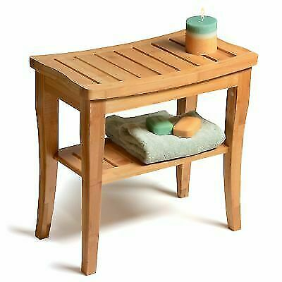 Amazing Bambusi By Belmint 100 Deluxe Bamboo Shower Seat Bench With Storage Shelf For Sale Online Ebay Customarchery Wood Chair Design Ideas Customarcherynet