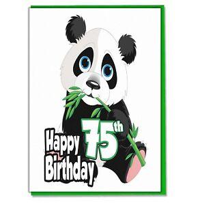Image Is Loading Panda 75th Birthday Card Ladies Wife Girlfriend Sister