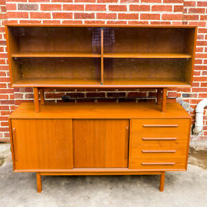 Danish-Modern-Teak-Credenza-with-Glass-Door-Hutch-MCM-Local-PIck-Up-Only
