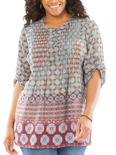 WOMAN Within Red Tile Print Roll Sleeve GEORGETTE Camicia Taglia Media a 3x