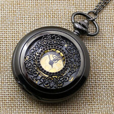 Black Quartz Floral Flower Pocket Watch Necklace Pendant Mens Womens Gift P240