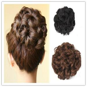 Large New Natural Chignon Messy Curly Bun Updo Clip In Hair Piece