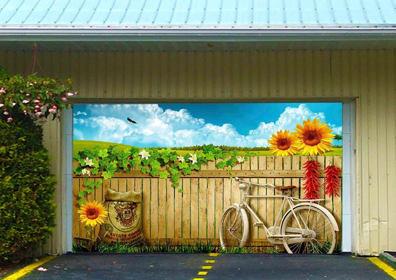 3D Bicycle, flower Garage Door Murals Wall Print Decal Wall Deco AJ WALLPAPER UK