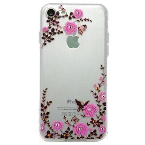 Pellicola-Custodia-cover-trasparente-FIORI-FARFALLE-per-Apple-iPhone-7-8-SE-2020