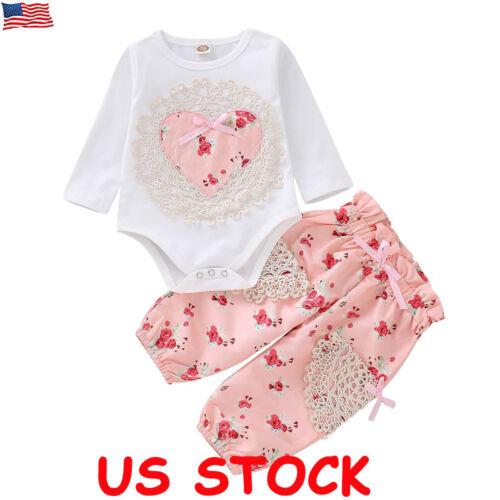 Newborn Kid Baby Girls Floral Clothes Jumpsuit Romper Bodysuit Tops Pants Outfit
