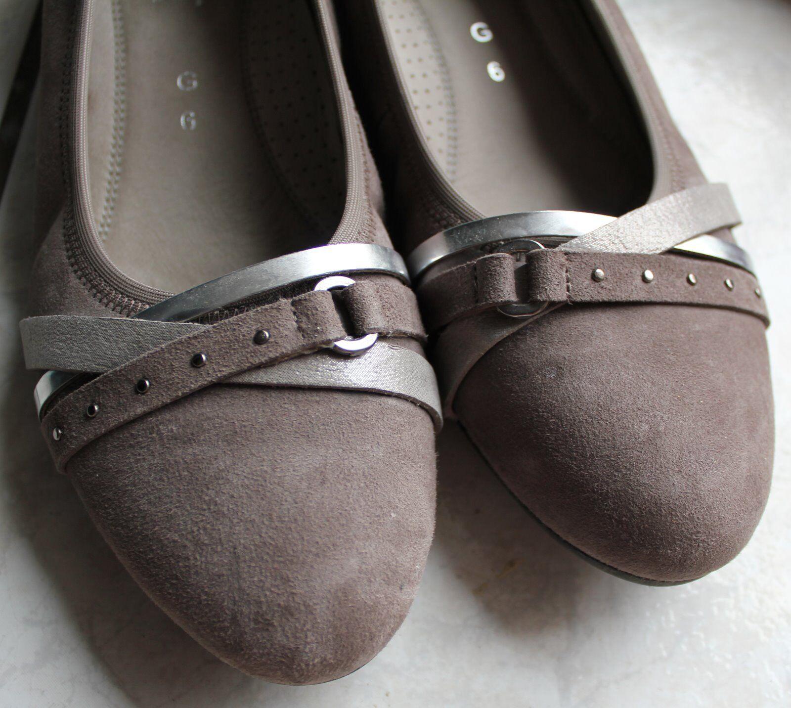 GABOR Comfort steel Damen-Ballerinas /Pumps,Nubuk-Leder,Samtchevreau, steel Comfort Gr. 6 (39) 31b728