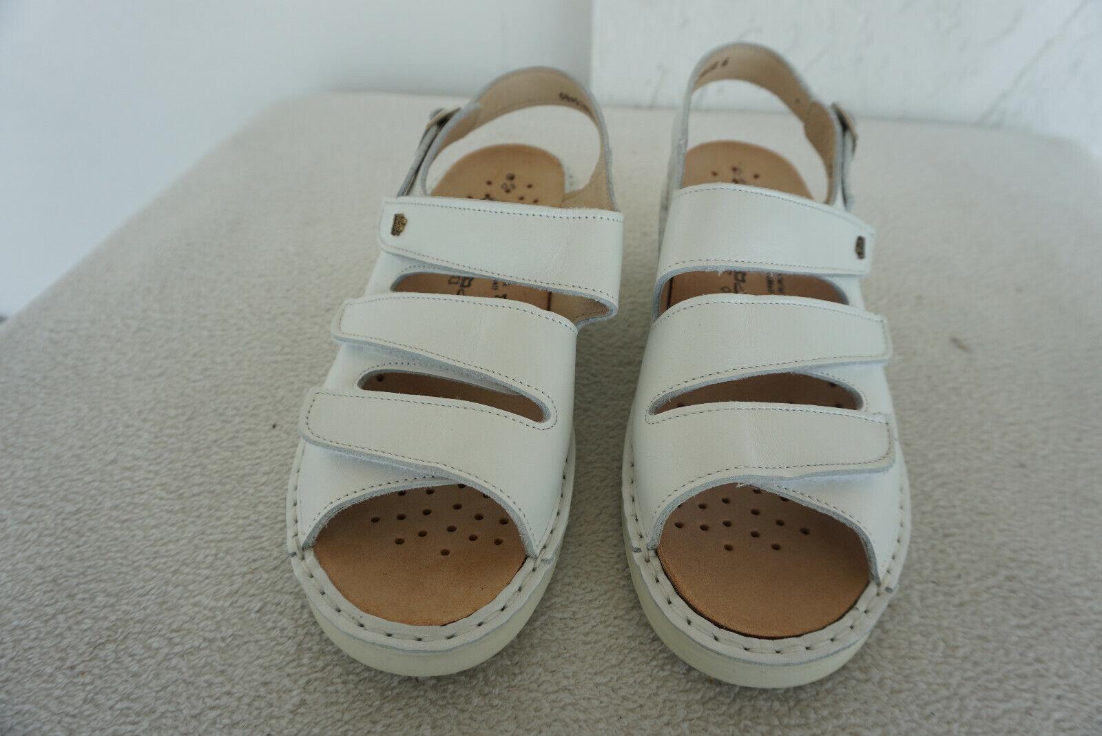 FINN COMFORT Samos Sommer Schuhe Klett Sandalen Gr.39,5 Weiß Einlagen leder NEU