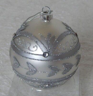 Schöne riesige Weihnachtskugel Glas Christbaumschmuck Bauernsilber Zapfen silber