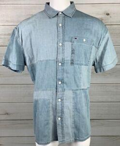 New-Tommy-Hilfiger-Men-039-s-Patchwork-Button-Down-Shirt-Size-XL-NWT-MSRP-69-A6312