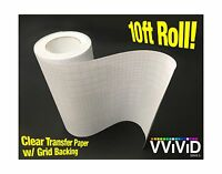 High Gloss Clear Vinyl Transfer Paper Self-adhesive Roll W/ Gri... Free Shipping
