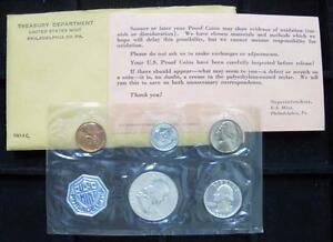 1961 5-COIN PROOF SET MINT PACKAGING DAY-03065 3 COINS 90/% SILVER IN U.S