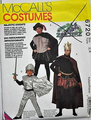 McCall's Sewing Pattern # 6720 Child's Costume Medieval King Knight Choose Size
