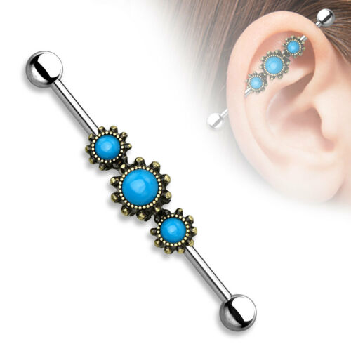 Triple Turquoise with Filigree Industrial Barbell Scaffold Piercing 14g 1.5/""