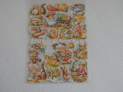 1x Poesiebilder Oblaten Ostermotive 174 nostalgie Ostern kinder hase Glanzbilder