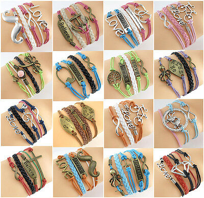 New Design Infinity,Motto,Wish Trees Charms Leather Rope Friendship # Bracelet