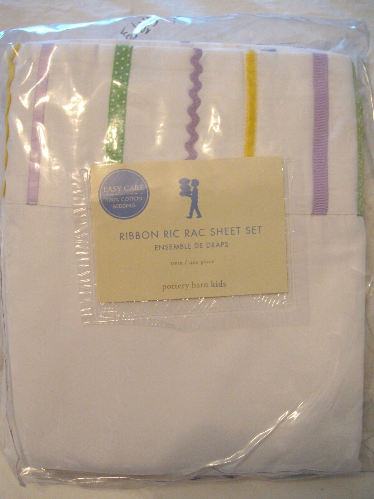 POTTERY BARN Kids Ribbon Ric Rac Twin Sheet Set Lavande NEUF