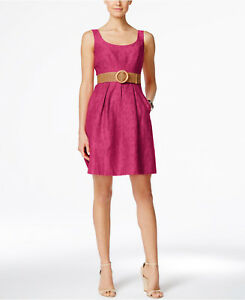 Nine West Women S Candy Pink Belted Burnout Fit Amp Flare