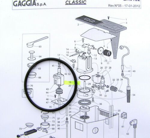 Gaggia Classic Baby Tebe Evolution EPDM Chaudière Joint Joint O Ring DM0041//082