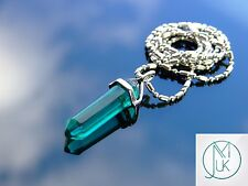 Emerald Glass Point Pendant Manmade Gemstone Necklace with Chain
