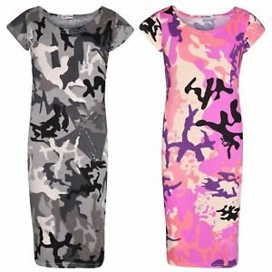 Girls-Dress-Kids-Camouflage-Print-Summer-Party-Bodycon-Midi-Dresses-5-13-Years