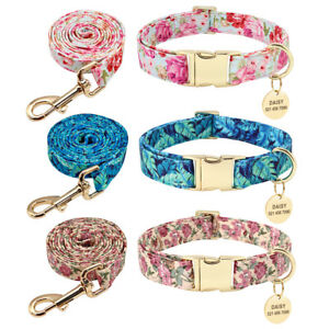 Floral-Pet-Dog-Cat-Collars-amp-Lead-amp-Personalised-Name-ID-Collar-Tag-Engraved-S-M-L