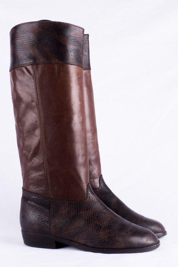 Vintage Stiefel 38 Remonte cognac Leder Patina 5 leather boots Boho Hippie 80s