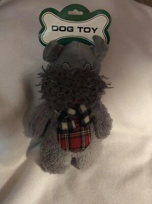 Doelstelling Christmas Dog Toy Schnauzer Stuffed Gray Pet Squeak Animal