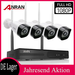 Zoohi WLAN Funk CCTV Überwachungskamera System 8CH 1080P Video IP Außen NVR 2TB