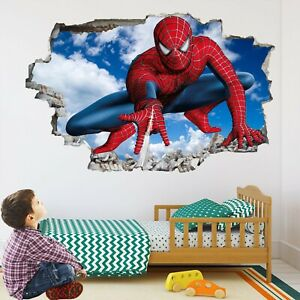 Details about Spiderman Superhero Wall Art Stickers Mural Decal Kids  Bedroom Decor EA52