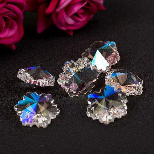 5PCS Snowflake Flower Glass Crystal Loose Beads For Jewelry DIY Making Craft