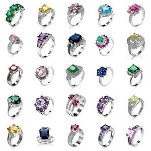 Sz-6-10-CZ-Ring-Sapphire-Amethyst-925-Solid-Silver-Women-White-Gold-Wedding
