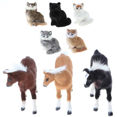 Realistic Plush Stuffed Animal Model Figurines Vivid Horse//Cat Home Ornament