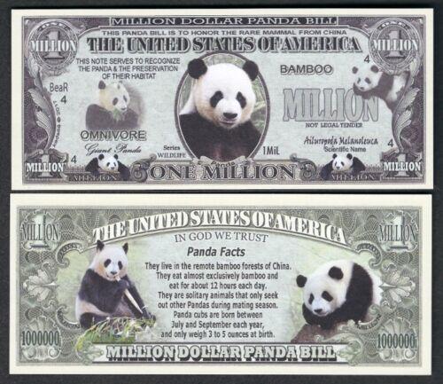 Lot of 25 Bills Panda Preservation Million Dollar Novelty Bill with facts